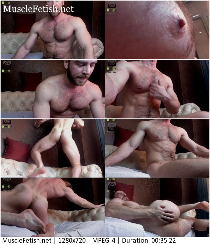 Muscle model from Chaturbate Arni Strong in erotic positions in front of the camera