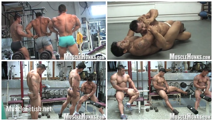 Muscle models Timmy Riordan, Bill Baker and asian bodybuilder Ko Ryu