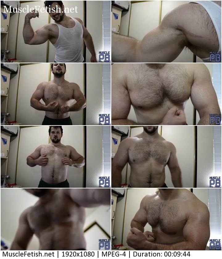 Muscle power - blue sweaty muscle flex on cam