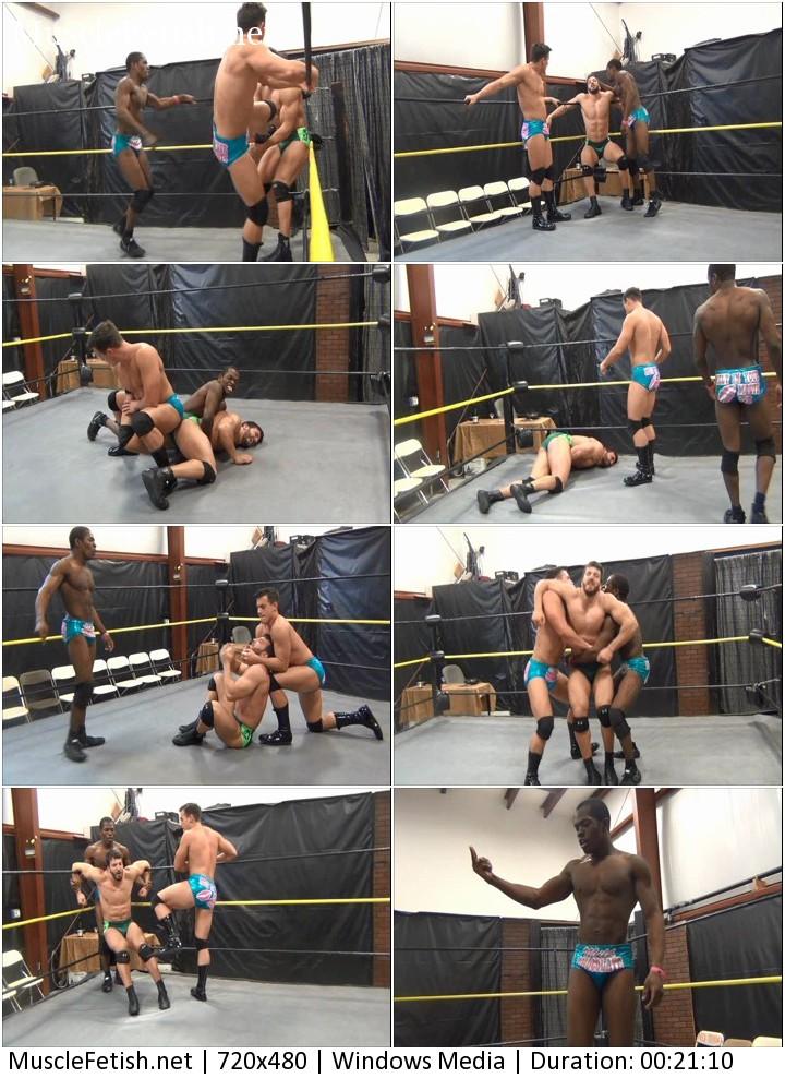 Muscle wrestler Maverick vs two opponents