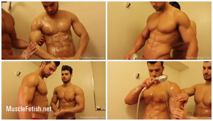 Muscled Brothers Taking a Shower