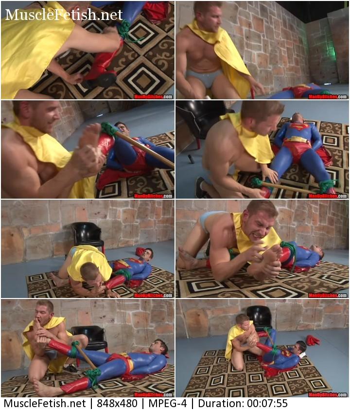 Muscular Alex Adams vs Superman. Male feet fetish, foot tickling.