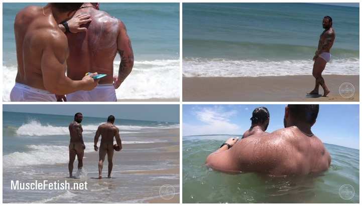 Muscular Damien Stone and Rebel Naked Hunks at the Beach