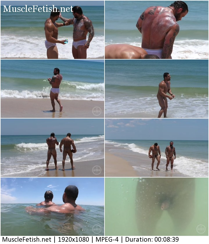 Muscular Damien Stone and Rebel Naked Hunks having some fun at the beach