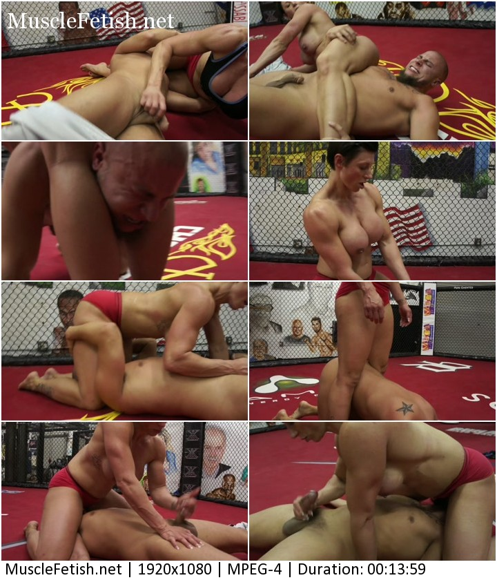 Muscular Mistress Rapture destroys Eli in a Mixed Wrestling Fight