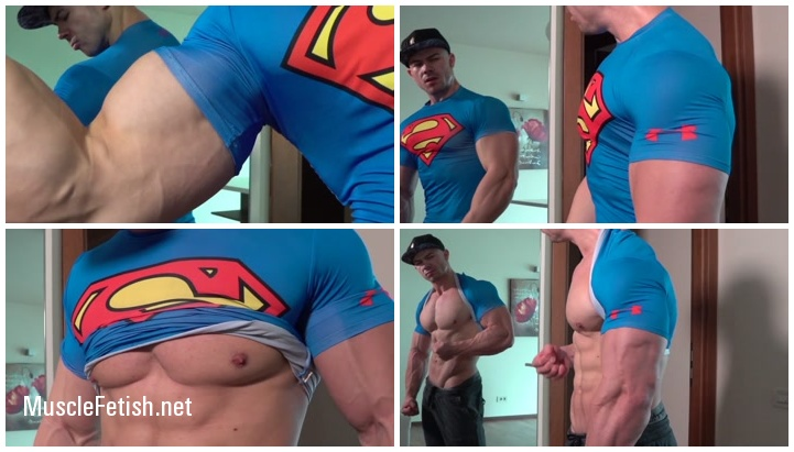 Muscular Superman In The Mirror