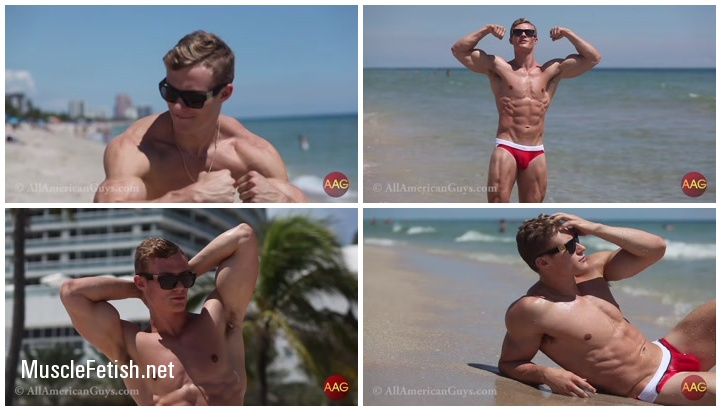 Muscular sexy beach footage from AllAmericanGuys
