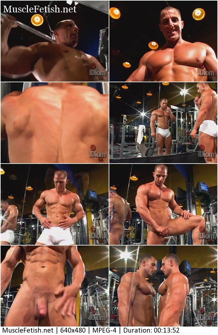 Naked bodybuilder Johnny Cruise posing in the gym