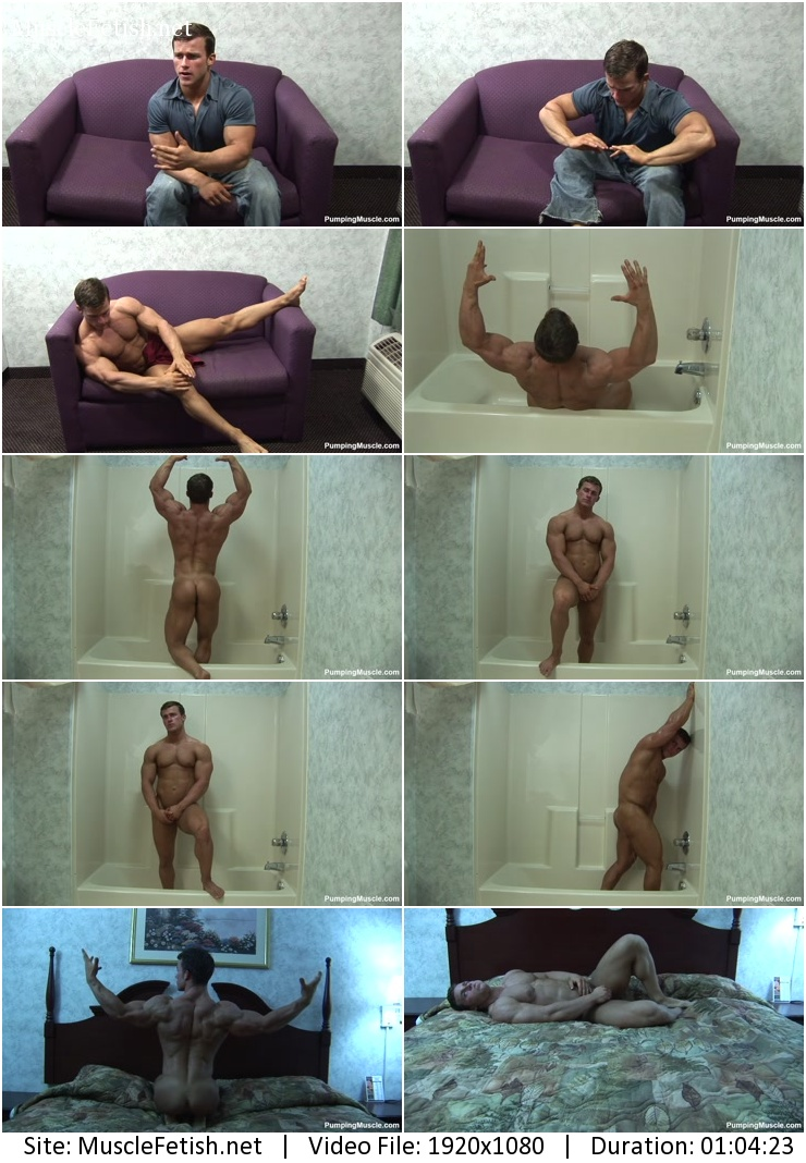 Pumping muscle - bodybuilder Jason J photo shoot - naked and touching parts only