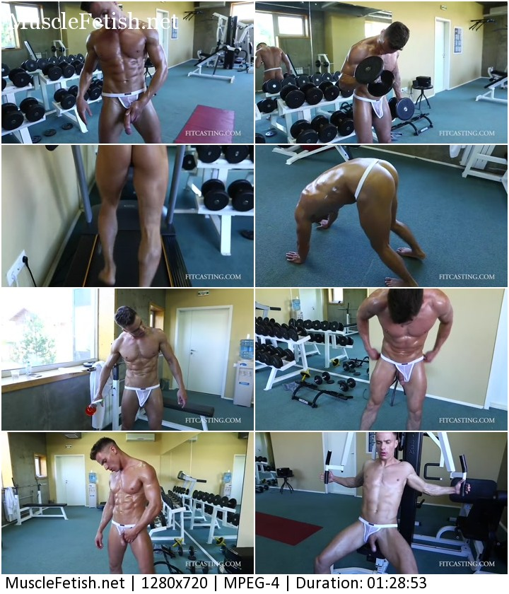 Russian fitness Model from fitcasting Dima S - posing workout and Cum