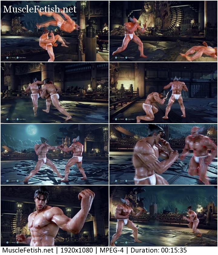 Scenes from the game Tekken for fans of muscular men