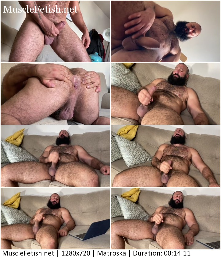 Sexy bearded man Alex Tika with hairy cock jerking off