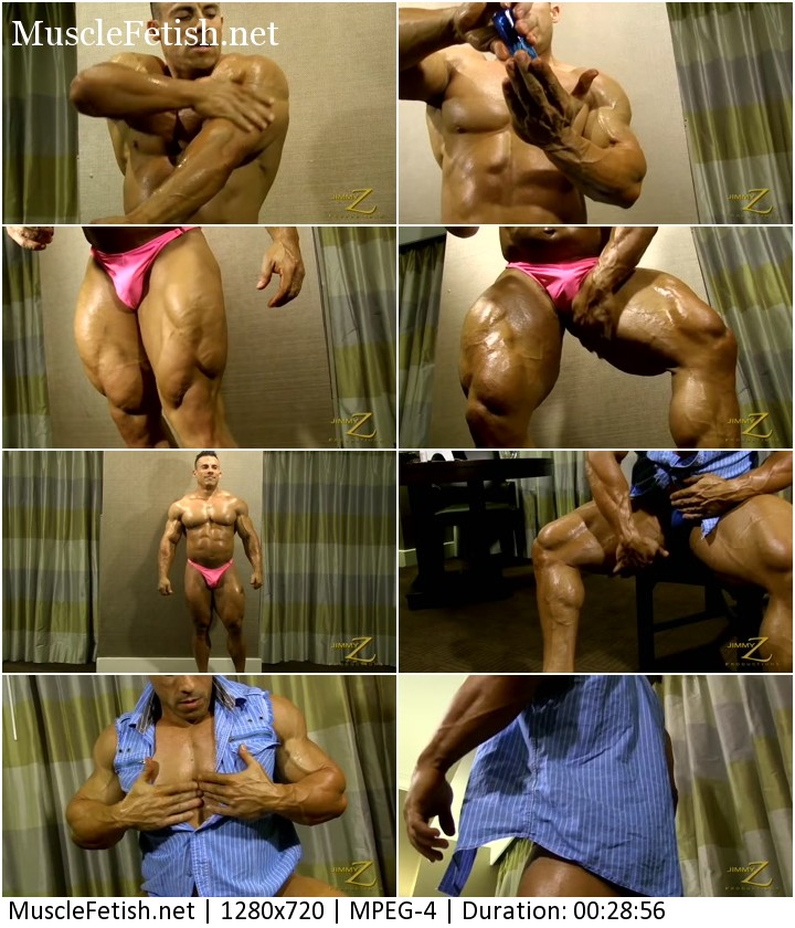 Sexy bodybuilder from JimmyZ is posing in his panties and revealing big muscles