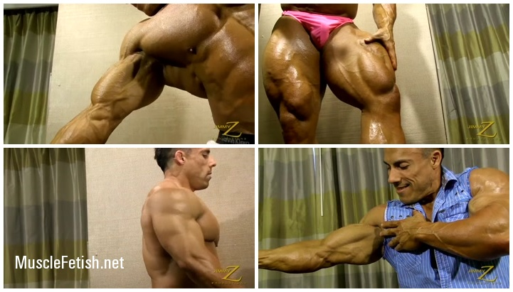 Sexy bodybuilder is posing in his panties and revealing big muscles