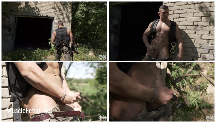 Slow mo cumshot with muscle army man