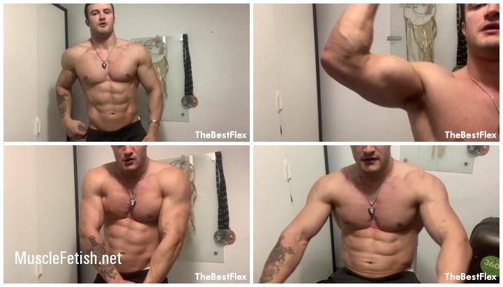 Spanish fitness model - big bicep pump