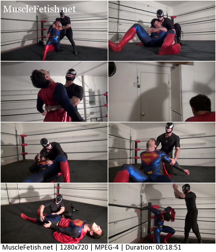 Superman get drained and dominated in the ring - male wrestling