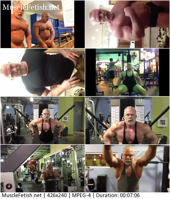 TexBearJoe video - Muscular Daddy changes, works out and flexes his muscles in gym