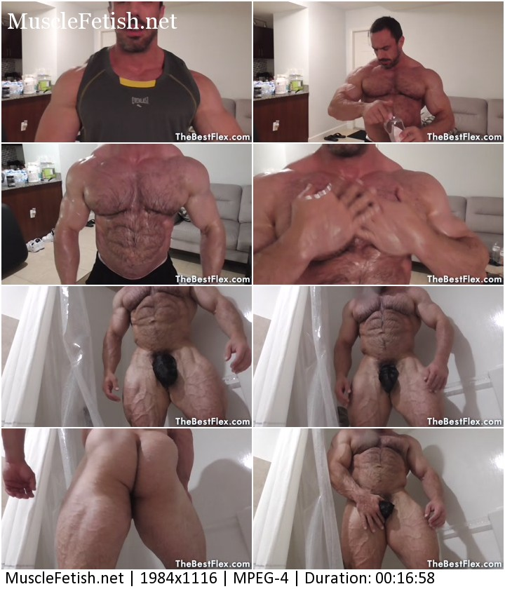 TheBestFlex video - The bodybuilder John Smithy (aka johnny musclex) - oiled muscle flexing and shower