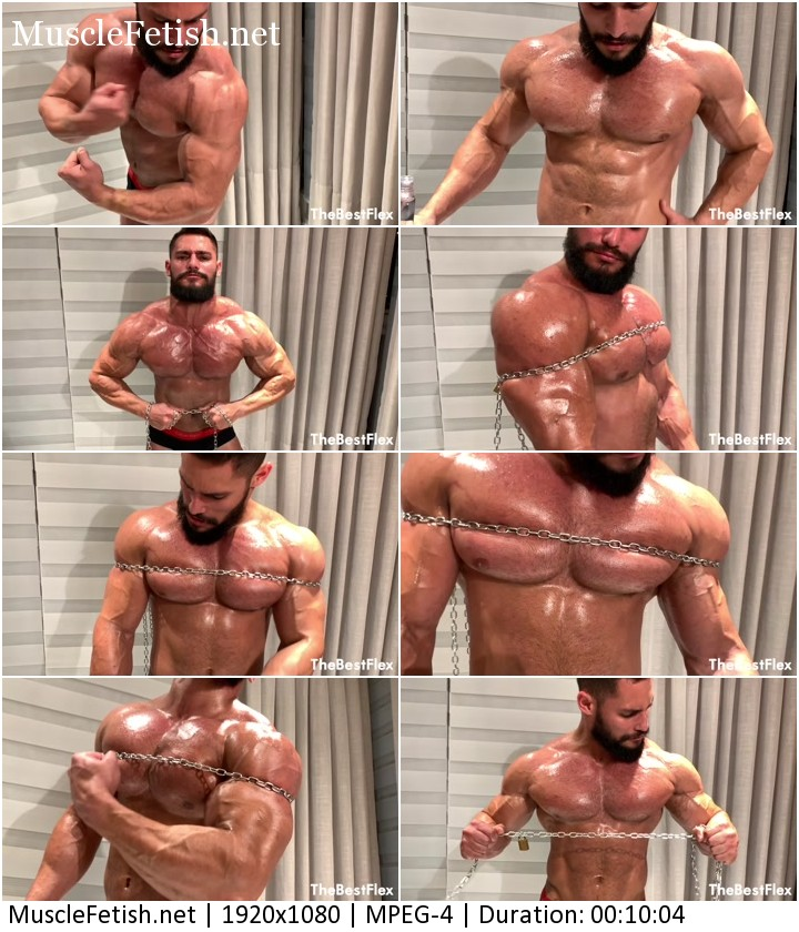 TheBestFlex video - bodybuilder Airon and chain - Oiled Up And Chained Up Muscle Power