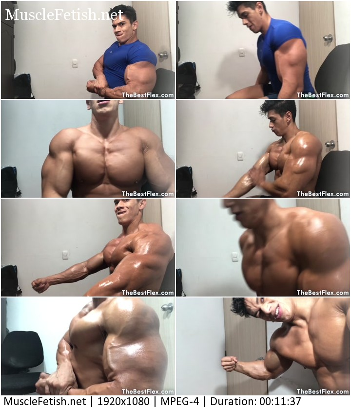TheBestFlex video - muscle model Steven C - non stop biceps - huge and pumped