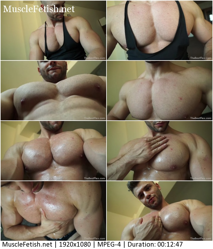 TheBestFlex viseo - Sexy Male Muscles (posing for webcam) - Cocky Boy Alex - Best Ever Pecs