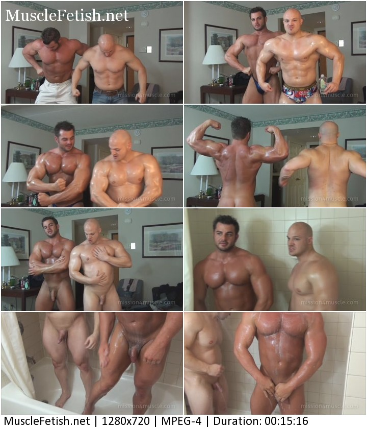 Two bodybuilders - Frank the Tank DeFeo and Kyle Stevens - dual muscle worship from Mission4Muscle