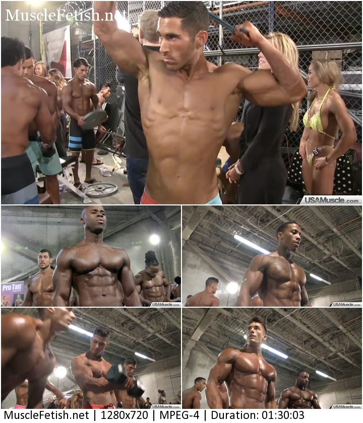 USAMuscle video - NPC Nationals Men's Physique Pump Room Part 1