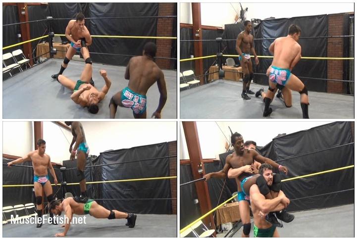 Wrestler Maverick vs two opponents