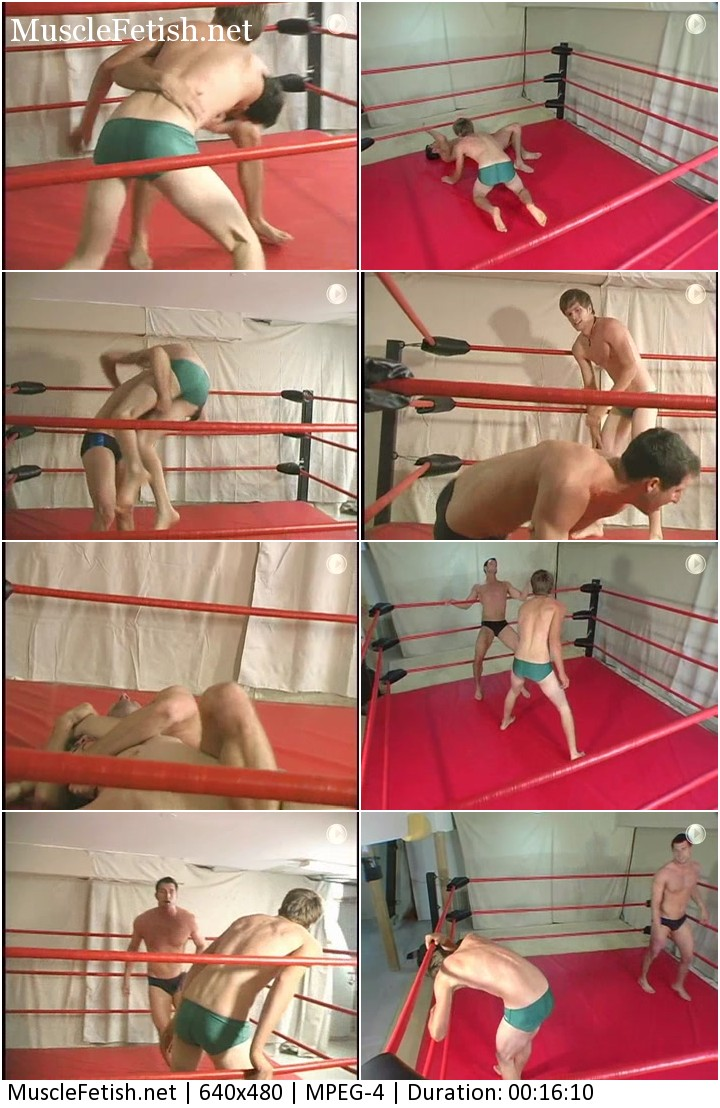 Wrestling match between two tall men. One slimmer and one more muscular