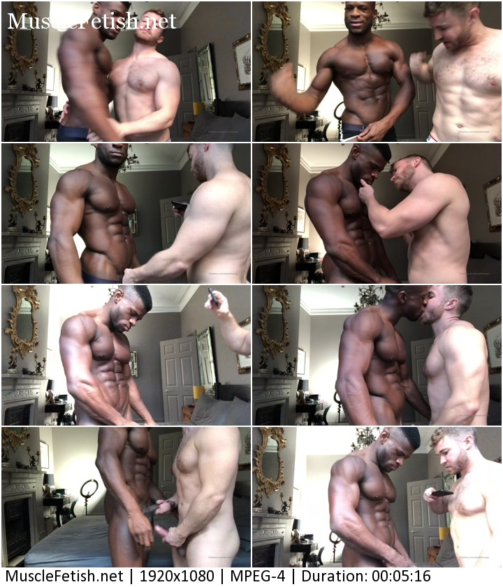 black muscular model Daniel Shoneye and white-skinned bodybuilder posing and kissing